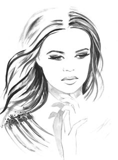 Tenderness - Print from Original Watercolor Fashion Illustration Modern Art Black and White Portrait Painting - Black Friday Etsy