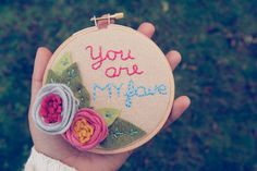 You Are My Fave Felt Embroidery Hoop Art  Wall Decor by Catshy Crafts on Etsy, $41.00