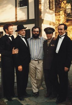 "thegoldenyearz: ""James Caan, Marlon Brando, Al Pacino, and John Cazale pose with Francis Ford Coppola on the set of The Godfather, 1972 """