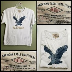 (eBay Sponsored) American Eagle Outfitters Short Sleeve patch logo Front T-Shirt White Size XL