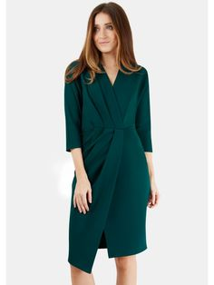 £55 - Green Cross Over Drape Skirt Dress