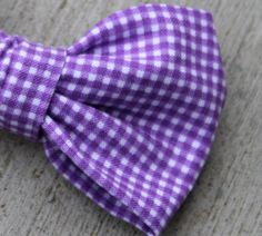 Tiny Purple Gingham Bow Tie  clip on by DivineDomestication, $15.00