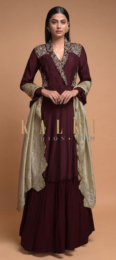 Buy Online from the link below. We ship worldwide (Free Shipping over US$100)  Click Anywhere to Tag Maroon-Anarkali-Suit-Cotton-Silk-With-Zardozi-Embroidered-Floral-Pattern-And-Collar-Neckline-Online-Kalki-Fashion Indian Gowns, Indian Wear, Indian Designer Outfits, Indian Outfits, Wedding Salwar Kameez, Silk Anarkali Suits, Long Gown Dress, Indian Clothes, Wedding Story