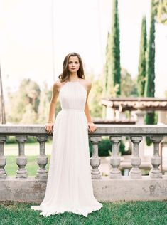Halter neck wedding dress from the Karen Willis Holmes 2016 Bridal Gown Collection.