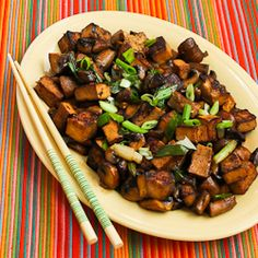 Recipe for Stir-Fried Marinated Tofu and Mushrooms | Kalyn's Kitchen®