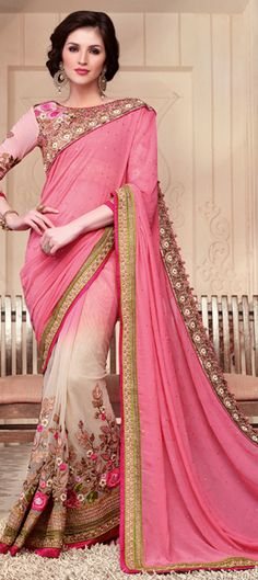 180226: Beige and Brown, Pink and Majenta color family Party Wear Sarees with matching unstitched blouse.