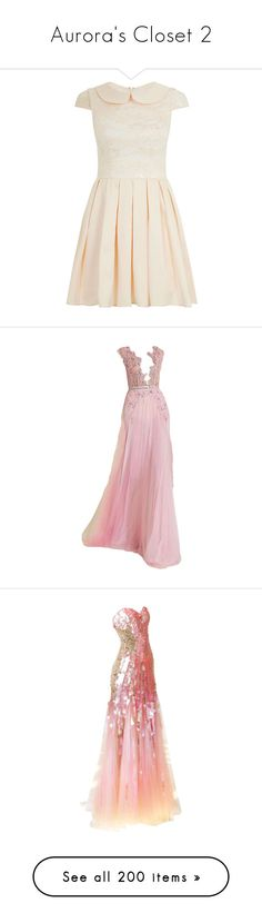 """""""Aurora's Closet 2"""" by summersurf2014 ❤ liked on Polyvore featuring dresses, vestidos, shell pink, pink fit and flare dress, pink lace dress, long-sleeve fit and flare dresses, peter pan collar dress, lace sleeve dress, gowns and gown"""