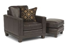 Flexsteel Furniture: Accent Chairs: Port RoyalLeather Chair & Ottoman (1373-10-08)