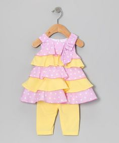 Take a look at this Pink & Yellow Polka Dot Ruffle Dress & Leggings - Infant by Gidget Loves Milo on #zulily today!