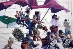 Michael Kunze, Nachmittag · 600 × 330 cm - Painting by Michael Kunze