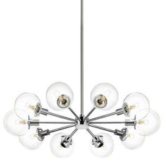 The Orb Radial Chandelier by Sonneman has been designed by Robert Sonneman. The Orb Radial Chandelier is available in polished chrome finish with a choice of clear glass or half-mercury glass shades. Features a 10 foot adjustable. Pendant Light Fixtures, Pendant Lighting, Modern Chandelier, Bubble Glass, Glass Shades, Sonneman, Polished Chrome, Chrome Chandeliers, Chrome Lights