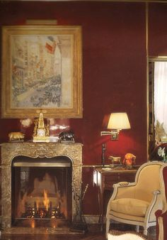 The Childe Hassam painting in the red library of Brooke Astor