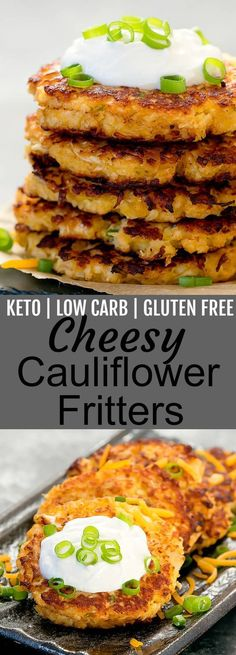 Crispy fritters that are keto, low carb, wheat flou… Cheesy Cauliflower Fritters. Crispy fritters that are keto, low carb, wheat flour free and gluten free. Low Carb Recipes, Diet Recipes, Vegetarian Recipes, Cooking Recipes, Healthy Recipes, Keto Veggie Recipes, Slimfast Recipes, Healthy Food, Vegetarian Italian
