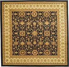 Black 9' 10 x 9' 10 Mashad Design Rug   Area Rugs   eSaleRugs