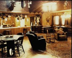 The Blue Pine Lodge's living room. Set design for Twin Peaks by Richard Hoover