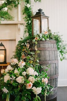 Photo from Rebecca & Kent collection by Lindsey Lissau Photography Wedding barrel Florals by Deedra Stone Designs Styling by Everbloom Designs