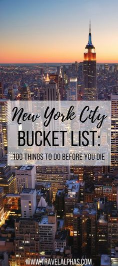 Looking for some New York City travel inspiration? Then look no further! This New York City Bucket List includes 100 things to do in New York City before you die. From amazing restaurants and markets, to museums and art galleries, to places to enjoy recreational activities and insanely beautiful views, this article has it all. Forget anything you've ever read about New York City before, because this bucket list, written by a New Yorker, is the only resource you'll ever need for...