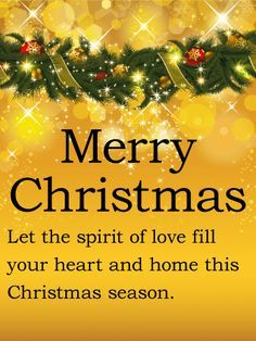 Send Free Golden & Shining Merry Christmas Card to Loved Ones on Birthday & Greeting Cards by Davia. It's free, and you also can use your own customized birthday calendar and birthday… Christmas Greetings Quotes Families, Christmas Card Verses, Christmas Wishes Quotes, Christmas Card Messages, Merry Christmas Wishes, Christmas Blessings, Christmas Lights, Christmas Holidays, Merry Christmas Family