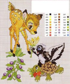 Bambi and Flower cross stitch pattern Disney Cross Stitch Patterns, Cross Stitch For Kids, Cross Stitch Baby, Cross Stitch Animals, Counted Cross Stitch Patterns, Cross Stitch Charts, Cross Stitch Designs, Cross Stitch Embroidery, Embroidery Patterns