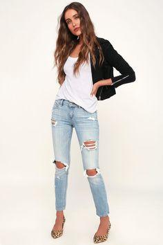 b1c4aba6efc1b Cool Skinny Jeans - Light Blue Jeans - Distressed Jeans Light Blue Jeans  Outfit, Light