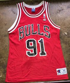 2d322891b Dennis Rodman Jersey Champion Chicago Bulls Vtg 90s NBA Basketball   91 Size  40  Champion