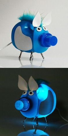 Blue Pig Bottlelamp by ABYU.  You may have already guessed it, this my friends is an up-cycled detergent bottle made into a lamp selling for 185.00! Hows that for creative genus. http://fab.com/sale/4555/