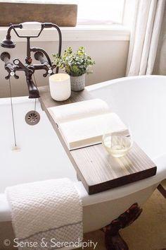 DIY Weathered Wood Bathtub Tray | Sense & Serendipity