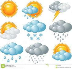 Buy Weather Icons by Dazdraperma on GraphicRiver. Nine weather related icons. Free Printable Clip Art, Free Printables, Weather Symbols For Kids, Crafts For Kids, Arts And Crafts, Paper Crafts, Weather Song, Windy Weather, Dementia Activities