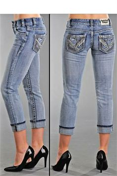 Rock and Roll Cowgirl Embroidered Denim Capri