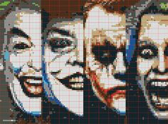 Jokers c2c Cross Stitch Skull, Beaded Cross Stitch, Cross Stitch Baby, Fuse Bead Patterns, Modern Cross Stitch Patterns, Graph Crochet, Crochet Blanket Patterns, Gotham, Melty Bead Designs