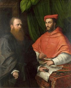 Cardinal Ippolito de' Medici and Monsignor Mario Bracci, ca. 1533 (attributed to Girolamo da Carpi) (1501-1556)  The  National Gallery, Lond...