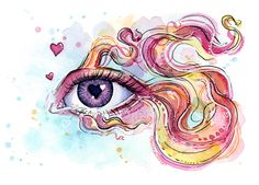 Surreal Eye Betta Fish Doodle, Giclee Art Print, Animal Watercolor, Surreal Animals, Eye Painting, Hearts, Betta Print, Colorful Fish by OlechkaDesign on Etsy https://www.etsy.com/listing/510695807/surreal-eye-betta-fish-doodle-giclee-art