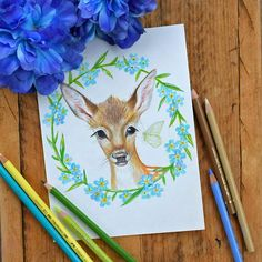 Items similar to Original colour pencil drawing 6 x wildflower Faun, wildlife art, deer on Etsy Little Fox, Mini Canvas, Animal Totems, White Acrylics, Wildlife Art, Woodland Animals, Pencil Drawings, Colored Pencils, Deer