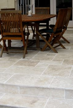 These Classico light travertine tiles & pavers are perfect for indoor floors and outdoor paving Balcony Tiles, Patio Tiles, Outdoor Flooring, Porch Tile, Outdoor Paving, Stair Gallery, Travertine Floors, Paving Stones, Outdoor Rooms