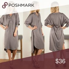 NWT Lace-up Front Silky Jersey Dress Fashionomics Silky Jersey Lace-up Front Slouchy Dress.  Beautiful Warm gray color.  Dress it up or wear it casual.  Very versatile!!   NWT!!!!! Fashionomics Dresses Long Sleeve