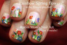 """""""short nail art"""" """"colorful flower design"""" """"spring flower nail art"""" """"spring nail art"""" """"flower garden nail art"""" """"flower nails"""" """"nails with flowers"""" """"robin moses nail art"""" """"short flower nails"""" short flower floral garden rainbow nails nailart Shellac Nail Art, Diy Nails, Nail Polish, Acrylic Nails, Cute Nail Art, Cute Nails, Pretty Nails, Funky Nails, Robin Moses"""