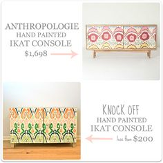 Hand Painted Ikat Console- Anthro knock off tutorial!  Creating with the Stars Round 2!