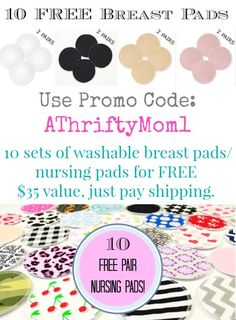 Free  Reusable Breast Pads, nursing pads from breastpads.com with promo code AThriftyMom1, #FREE, #Baby, #Nursing, #BreastPads