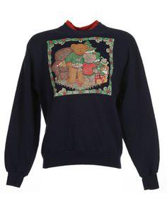 Navy Teddy Bear Christmas Jumper   Sweats & Hoodies   Rokit Vintage Clothing