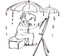 Artist drawing in rain.