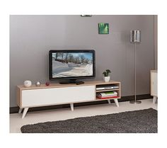 Meuble tv bas en bois avec 1 abattant et 2 niches prism tvs - Meuble tv vintage scandinave ...