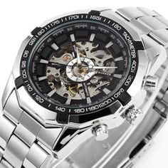 """★ Winner ★ Deluxe Mechanical Watch LIMITED TIME ONLY!NOT SOLD IN STORES.Please allow 2-4 weeks for deliveryFeatures:Automatic Mechanical Movement, Self-winding mechanism,Luminous Hands atnight, Dial Scale, Water Resist 3 ATM, Mineral Glass, Skeleton Transparent Dial.Dimensions: Diameter 4.5 cm(1.77 """"),Bandlength 24cm (9.4 """"), Band width 2.4 cm (0.94 """")Strap"""
