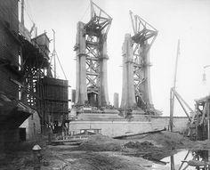 1908 Manhattan Bridge Construction of Foundation
