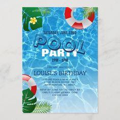 Pool Party Birthday Invitations, Joint Birthday Parties, Elegant Birthday Party, Summer Birthday, Surprise Birthday, 15th Birthday, Birthday Cakes, Summer Pool Party, Summer Parties