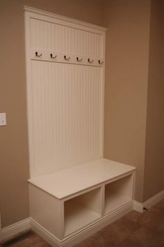 Mudroom Bench narrow space perfect for a large laundry room