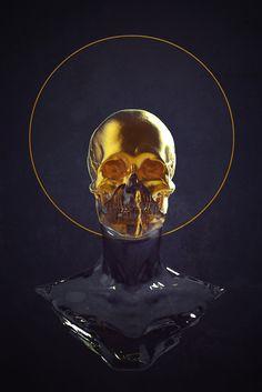 Another random project for Gnomon. Sculpture Art, Sculptures, Gold Aesthetic, Skull Design, Skull Art, Black Art, Crane, Cover Art, Art Reference