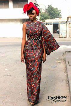 """One-sided"":Dress ~ African fashion, Ankara, kitenge African Dresses For Women, African Print Dresses, African Attire, African Wear, African Fashion Dresses, African Prints, Ankara Fashion, African Fabric, African Inspired Fashion"