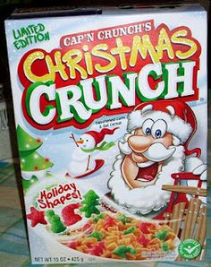 Breakfast cereal image for Christmas Crunch cereal called 2009 Christmas Crunch Cereal Box. Oat Cereal, Crunch Cereal, Breakfast Cereal, Cereal Bowls, Cap'n Crunch, Cereal Food, Kids Cereal, Cereal Milk, Christmas Crunch