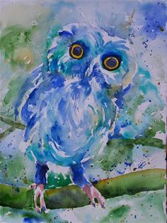 """Daily Paintworks - """"Owls New Blue Tights"""" - Original Fine Art for Sale - © Reveille Kennedy"""