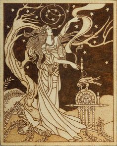 Beautiful pyrography artwork depicting Frigg, Norse goddess of wisdom and foreknowledge, wife of Odin and mother of Baldr with three sacred birds (hawk, falcon and raven), standing tall and proud against the star-filled sky.